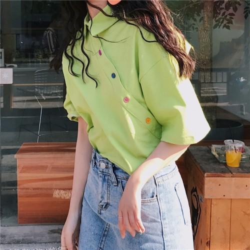Drippy Irregular Button Korean Shirt