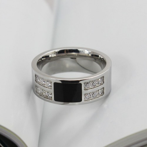 Men's Ring Silver zircon Stainless Steel